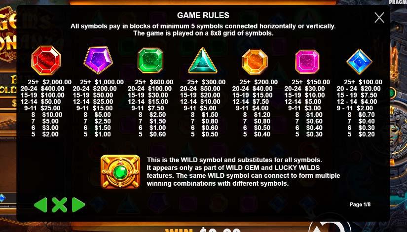 gems bonanza featured symbols