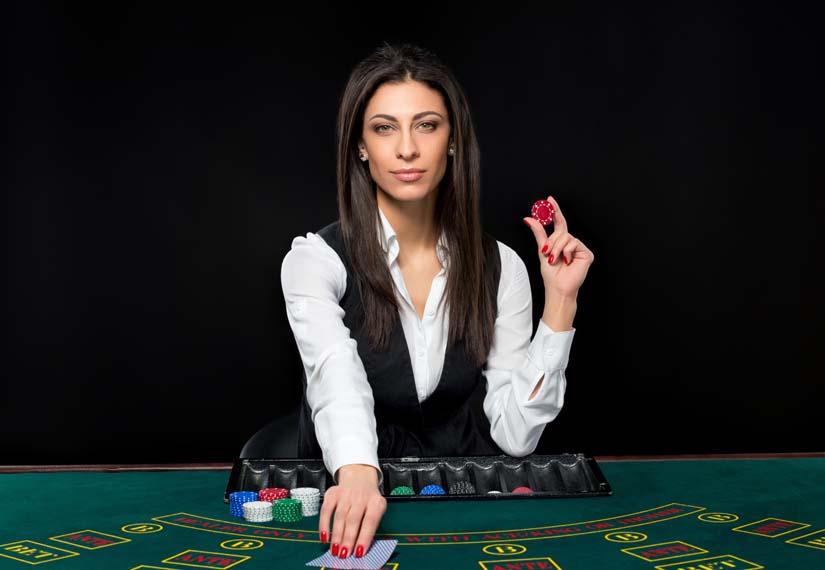 croupier dealing blackjack